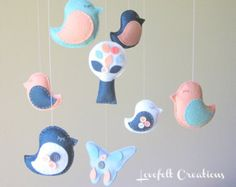 coral and navy nursery - cute mobile