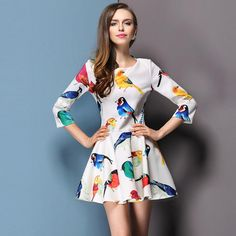 2015 Spring New European And American Style Fashion Women's Dress Print Dress White Dresses Street Style Online with $18.33/Piece on Zhouzhijun0304's Store | DHgate.com