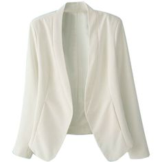 Choies White Single Button Long Sleeve Slim-cut Blazer found on Polyvore featuring polyvore, fashion, clothing, outerwear, jackets, blazers, white, slim fit blazer, white jacket and long sleeve blazer