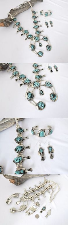 Sets 98494: Turquoise Silver Squash Blossom Necklace Set Masj1771 -> BUY IT NOW ONLY: $165.99 on eBay!