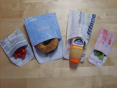Reusable snack bags from grocery bags #recycle