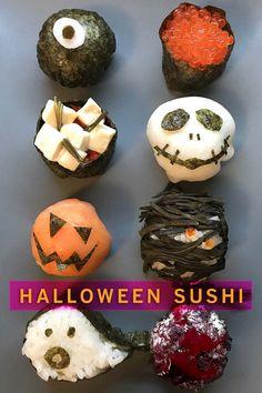Rezept für schaurig schöne Temari und Gunkan Sushi zu Halloween  Neben all dem Süßkram kommt auf mein Buffet etwas Herzhaftes: niedliche kleine Halloween-Sushi mit Monsterfratzen, Chilli-Glubsch-Augen, eingewickelt wie Mumien in Seetang, scheue Geister, Kürbisköpfe und grinsende Skellettschädel zum Reinbeißen. #halloween #sushi #foodblogger