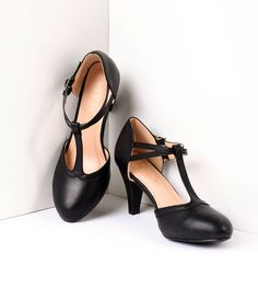 1940s Womens Footwear Vintage Style Black Leatherette Round Toe T-Strap Heels Shoes $48.00 AT vintagedancer.com