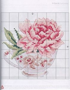 MUST DO.Light oatmeal Aida. Rose in darker red spectrum. Make design on cup pink/yellow