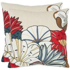 @Overstock - These large bright decorative pillows have an Asian influenced floral design. Vibrant colors of red, blue, brown, tan, and white are highlighted on this stylish pillow set. The pillow cover can easily be unzipped for cleaning purposes.http://www.overstock.com/Home-Garden/Floral-18-inch-Beige-Decorative-Pillows-Set-of-2/6641158/product.html?CID=214117 $55.99