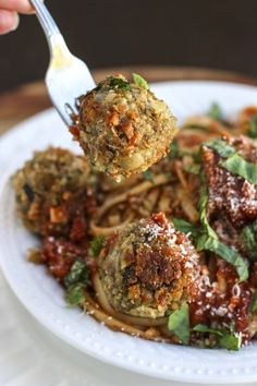 italian lentil quinoa balls with spaghetti for dinner