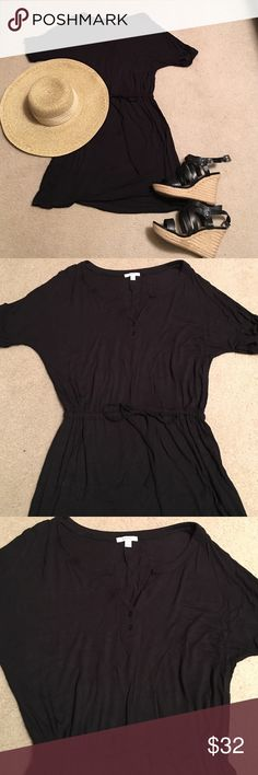 CASLON Black drawstring waist short sleeve dress Great little dress to travel with. Can wear alone or with leggings. Black cotton with split neck and drawstring waist.  So comfortable!!!! Caslon Dresses Mini