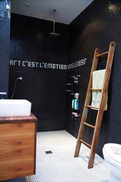 black bathroom by Esther Hershcovich