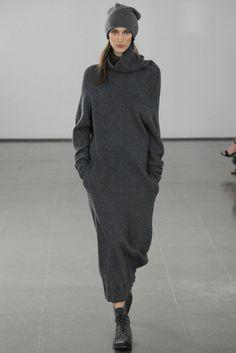 dark slate grey cowl neck sweater dress from Joseph