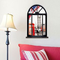 Dnven 18w X 27h 3D Full Colour High Definition Vintage London Telephone Booth England Big Ben Bus City Scenery Faux Window Frame Wall Decals Stickers Bedroom Living Room Playroom Decals >>> More info could be found at the image url.