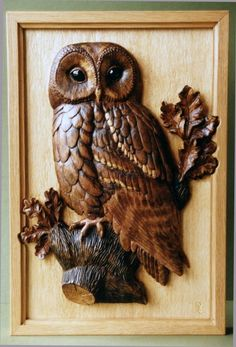 Relief carved owl