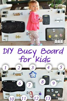 toddler sensory toys - DIY busy board ideas and homemade sensory boards for toddlers Diy Kleidung Upcycling, Diy Upcycling, Upcycling Projects, Craft Projects, Diy Upcycled Decor, Upcycled Furniture, Diy Busy Board, Diy Sensory Board, Sensory Wall