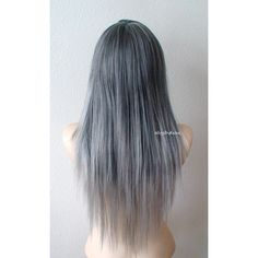 Silver Ombre Wig Gray Hair Long Straight Hairstyle Long Side Bangs Wig... (77220 SYP) ❤ liked on Polyvore featuring beauty products, haircare and hair styling tools