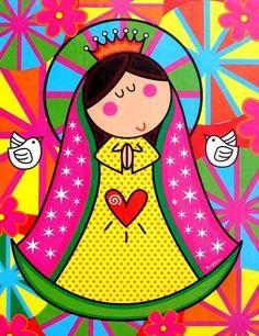 Virgencita for First Communion Holy Mary, Blessed Virgin Mary, First Holy Communion, Blessed Mother, Religious Art, Doodle Art, Painted Rocks, Folk Art, Decoupage