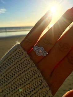 That sunset is almost as pretty as your 3-stone #ring , Tiffany! ☀️ Congrats to you and Jake on your #engagement! #Helzberg #SheSaidYes #Diamond #Proposal #Regram #Love #Engaged #Beach #Wedding #ThreeStoneRing #RingSelfie