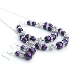 Bridesmaid Jewelry Set, Purple Pearl Rhinestone Necklace Bracelet and Earrings Set, Custom Colors
