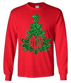 Allow SGC to sparkle up your holiday season with this adorable Red long sleeve with Green HTV Non-flaking Glitter Vinyl Designed Christmas Tree Monogram top! Shirt Details: Cotton Unisex style fit Gildan Brand Font will be as shown Christmas Shirts For Kids, Cute Christmas Outfits, Christmas Vinyl, Funny Christmas Shirts, Toddler Christmas, Christmas Tree, Christmas Monogram Shirts, Grinch Shirts, Christmas Markets