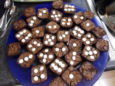 Bunco Dice Brownie Bites with white chocolate chips for dots!
