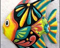 Hand painted metal tropical fish wall hanging, Tropical metal art - Metal wall art - Tropical fish art - Garden art, Garden decor, Brightly hand painted me Art Tropical, Design Tropical, Tropical Home Decor, Tropical Furniture, Tropical Colors, Fish Wall Decor, Fish Wall Art, Fish Art, Outdoor Metal Wall Art