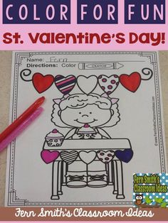 #Free St. Valentine's Day Coloring Page in the FREE Preview Download! St. Valentine's Day Fun! Color For Fun Printable Coloring Pages {37 coloring pages equals less than 10 cents a page.}  #TPT $paid