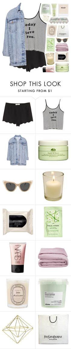 """""""YOU SHOWED ME LOVE"""" by celhestial ❤ liked on Polyvore featuring Valentino, MANGO, Pull&Bear, Origins, Illesteva, H&M, NARS Cosmetics, Frette, Diptyque and Market"""