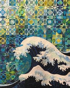 """""""Weather the Storm"""" by Elizabeth Bauman (Ohio.) Detail. 2nd place - Large Quilt - Home Machine Quilted. 2015 AQS Quilt Week - Grand Rapids. Photo by Mama Spark."""
