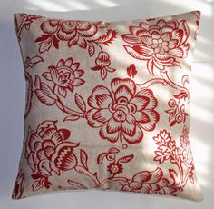 Items similar to Handmade Throw Pillow Cover, Pretty Red Floral Silhouette Accent Pillow Cover, Decorative Cushion Cover, Bircham in Red Accent Pillow Cover on Etsy Handmade Throw Pillow, 16x16 Pillow Cover, Waverly Fabric, Decorative Cushion Covers, Toss Pillows, Pillows, Red Accent Pillow, Accent Pillow Cover, Throw Pillows