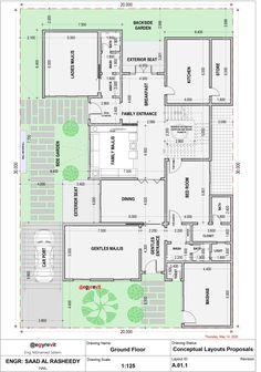 Square House Plans, Two Story House Plans, Family House Plans, Dream House Plans, House Floor Design, Duplex House Design, Circle House, Flat Roof House, House Plans Mansion