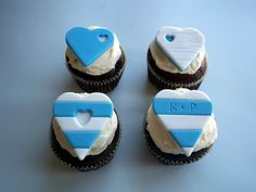 Blue and White Stripes Hearts Fondant Cupcake Toppers, Romantic Beach Wedding Favors, set of 12 by allsugarheart on Etsy