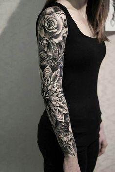 Flower And Leaf Full Sleeve Arm Tattoo For Women - Arm Tattoos small tattoo idea. - Flower And Leaf Full Sleeve Arm Tattoo For Women – Arm Tattoos small tattoo ideas for women. Girls With Sleeve Tattoos, Full Sleeve Tattoos, Arm Tattoos For Women, Tattoo Sleeve Designs, Tattoo Designs For Women, Tattoos For Guys, Full Hand Tattoo, Small Tattoos For Girls, Black Sleeve Tattoo