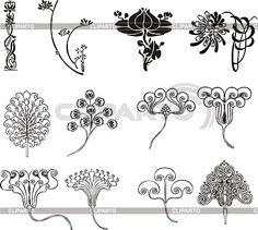 Einfache florale Ornamente im Jugendstil | Stock Vektorgrafik | ID 2026462