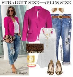 Straight Size to Plus Size Pink Blazer & Jeans Leopard Heels and Clutch with Distressed Boyfriend Jeans Alexa Webb - Curvy Jeans for women - Ideas of Curvy Jeans for women Blazer Jeans, Outfit Jeans, Look Blazer, Jeans Outfit For Work, Red Blazer, Casual Blazer, Blazer Dress, Casual Chic, Casual Work Outfits