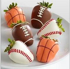Chocolate covered sports strawberries.