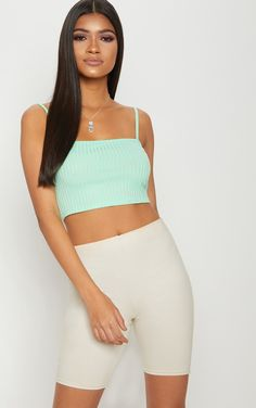 Basic Mint Rib Square Neck Strappy Crop Top. Head online and shop this season's range of tops at PrettyLittleThing. Express delivery & student discount available.