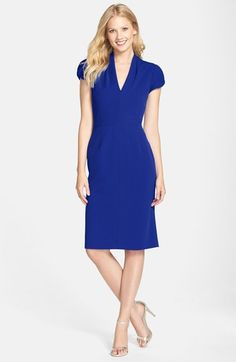 Betsey Johnson Puffed Sleeve Scuba Sheath Dress $138.00