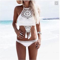 Bohemian Mesh Halter Low Waist Bikini Set Swimwear - Meet Yours Fashion - 1