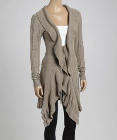 Love this Taupe Ruffle Open Cardigan by Sacred Threads Boutique on #zulily! #zulilyfinds