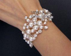Avorio perla bracciale braccialetto nuziale di adriajewelry