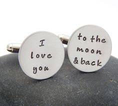 I Love You to the Moon and Back Cuff Links - Wedding Gift Groom Anniversary Christmas Gift Cuff Links Custom Cufflinks Wedding Gifts For Groom, Black Letter, Hand Stamped Jewelry, Boyfriend Gifts, Color Change, I Love You, Rust, Larger, Cufflinks