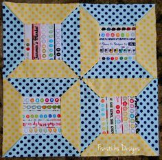 My May Selvage Spool block is done, and I LOVE it!    May Riley Blake Mystery Quilt Block – Selvage Spools | Fishsticks Designs Blog