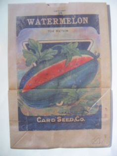 A vintage watermelon seed saving package as inspiration for a Methuselah Project painting.