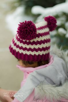 Chevrons and PomPoms Hat CROCHET PATTERN instant by Bowtykes, $4.50