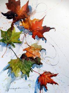 """Falling"" by Sandy Strohschein Watercolor ~ 16 x 12 (leaf art watercolor) Watercolor Leaves, Watercolor Artists, Watercolor Landscape, Watercolor And Ink, Watercolor Paintings, Watercolors, Watercolor Portraits, Abstract Paintings, Pintura Graffiti"