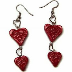 tutorial.    Red polymer clay heart dangle earrings by Creative Critters, via Flickr