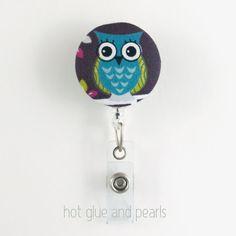 Teal Owl Badge Reel Decorative ID badge reel by HotGlueAndPearls