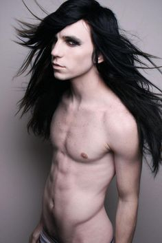 goth gothic man men male long hair hot sexy