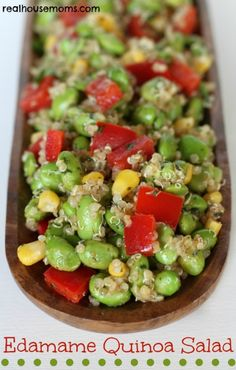 With plenty of fiber and protein, this healthy Edamame Quinoa Salad recipe eats like a meal when you top it with a bit of grilled chicken, shrimp, or steak. Or try this edamame salad recipe as a crowd-pleasing potluck side dish on its own. Lunch Recipes, Salad Recipes, Vegetarian Recipes, Cooking Recipes, Healthy Recipes, Cooking Tips, Freezer Recipes, Freezer Cooking, Side Recipes