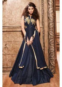 Festival Wear Navy Blue Banarasi Silk Anarkali Suit - 3706