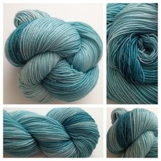 GLISTENING TIDE POOL - These are one of my favorite colors and they have stellina in them which makes them sparkle and glisten! Beautiful! Colors: shades of teal, some cream is possible (I use only professional grade dyes)  Yards: +/- 438  Weight: sock/fingering  Fiber: 75% merino/ 20% silk / and 5% silvertoned Stellina fiber. (Stellina is a non-metal fiber)  Care instructions: hand wash, lay flat to dry #yarnbaby #yarn #handdyedyarn #crochet #knit