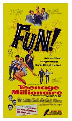 TEENAGE MILLIONAIRE 1961 movie on DVD. Rare rock and roll movie! Jimmy Clanton's millionaire family owns lots of radio stations. The teenager sneaks his own song into the station's play list. The song is an overnight hit. Musical performances by Dion, Jackie Wilson, Bill Black's Combo, Marv Johnson, Chubby Checker, Vicki Spencer and others!